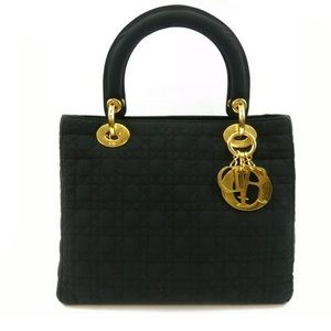 Christian Dior Black Nylon Lady Dior Satchel Bag